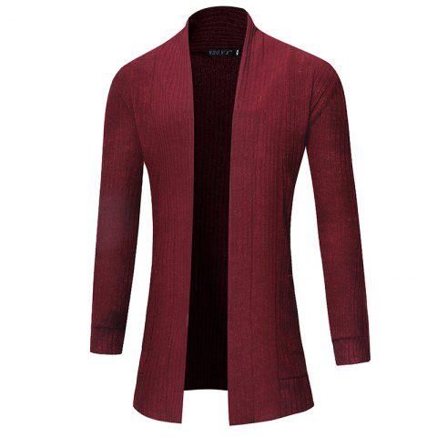 2018 New Men'S Fashion Solid Color Cardigan in The Long Sweater - CHERRY RED M