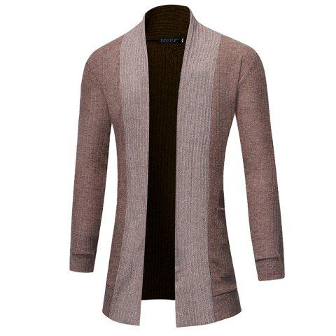 2018 New Men'S Fashion Solid Color Cardigan in The Long Sweater - LIGHT KHAKI L