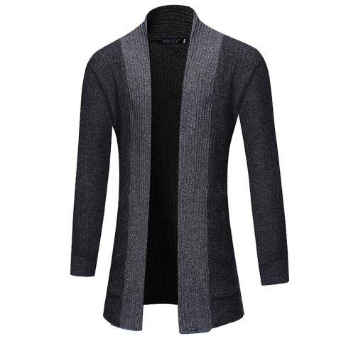 2018 New Men'S Fashion Solid Color Cardigan in The Long Sweater - DARK GRAY XL