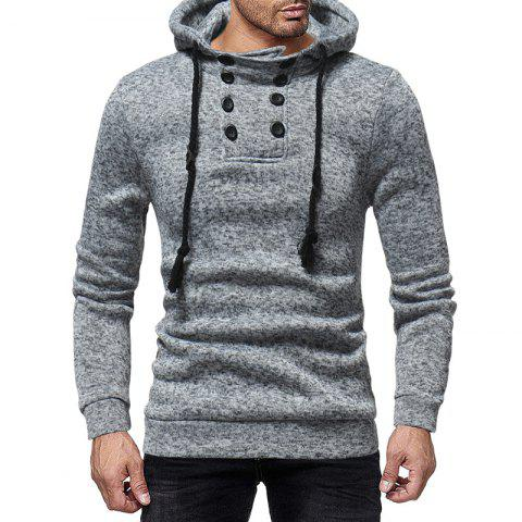 Men'S Casual Double-Breasted Solid Color Hooded Knit Slim Sweatshirt - GRAY 2XL