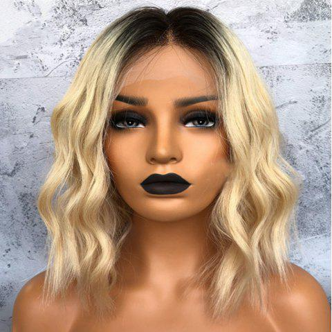 Short Natural Wave Black to Blonde Ombre Human Hair Lace Front Wig - BLONDE 14 INCHES