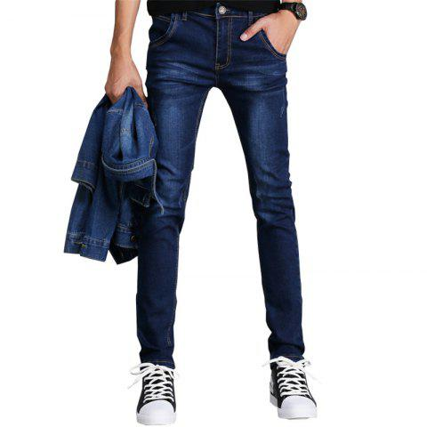 Men'S Fashion Casual Pants Youth Slim Sports Pants Trousers 3546 - DEEP BLUE 28