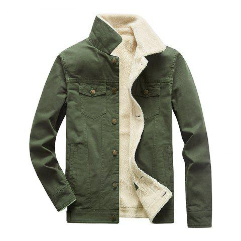 Men Outdoor Jacket Long-Sleeved Cotton Jacket - ARMY GREEN 2XL