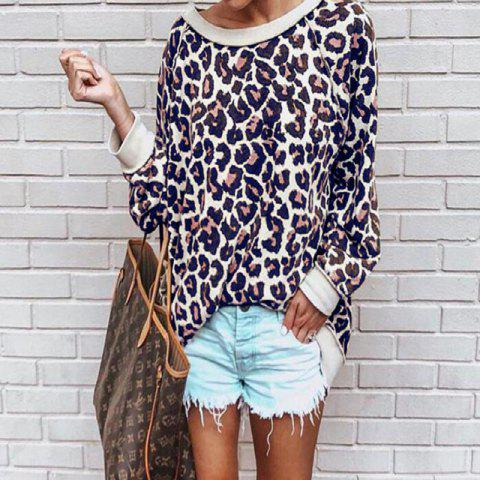 Leopard Print Hoodie Blouse for Women - DEEP BLUE L