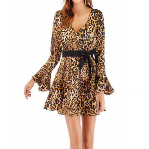 Women'S Leopard Print Dress with Flared Sleeves and A Deep V-Neck - LEOPARD L