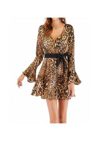 fd9ff71b355 Women S Leopard Print Dress with Flared Sleeves and A Deep V-Neck