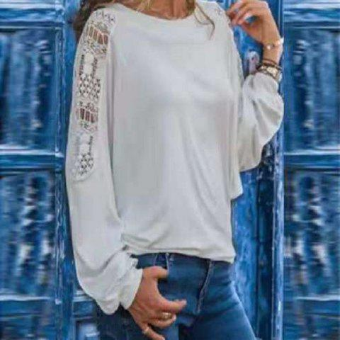 Women'S T-Shirt with Long Hollow Sleeves and Loose Lace - WHITE XL