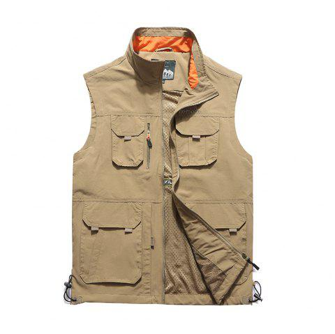 Men Leisure Pocket Fishing Photography Large Size Vest - KHAKI 6XL