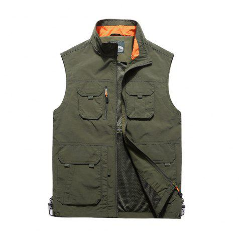 Men Leisure Pocket Fishing Photography Large Size Vest - ARMY GREEN XL