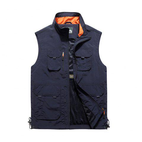 Men Leisure Pocket Fishing Photography Large Size Vest - DEEP BLUE 6XL