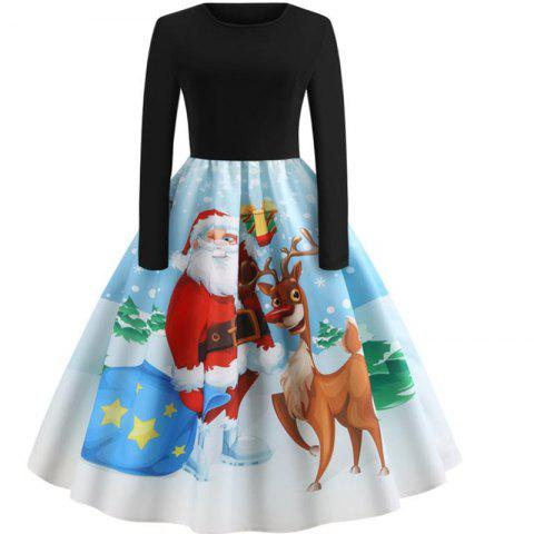 Long sleeved Christmas dress - BLUE XL
