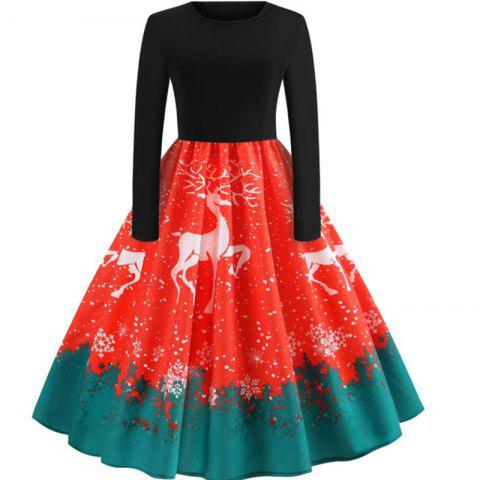 Long Sleeve Christmas Colored Dress - RED 2XL