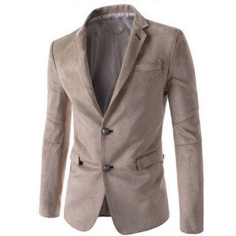 New Man Fashion Micro Fabric Casual Solid Blazer Coat - LIGHT KHAKI 2XL