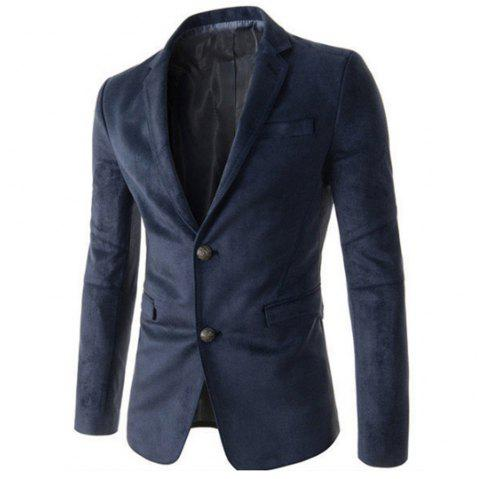 New Man Fashion Micro Tissu Casual Blazer Manteau - Cadetblue L