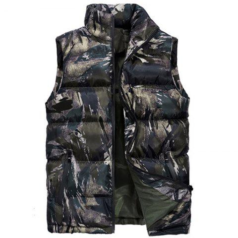 New Man Fashion Camouflage Down and Cotton Vest Parka Coat - DIGITAL DESERT CAMOUFLAGE 3XL
