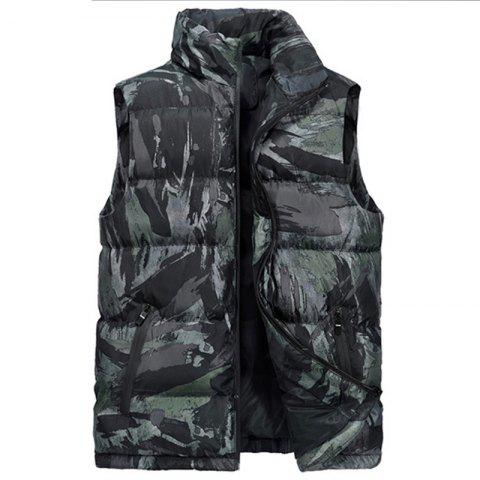 New Man Fashion Camouflage Down and Cotton Vest Parka Coat - DIGITAL WOODLAND CAMOUFLAGE 6XL