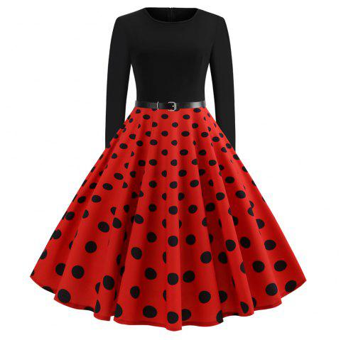 Hepburn Style Printed Stitching Long Sleeve Dress - RED L