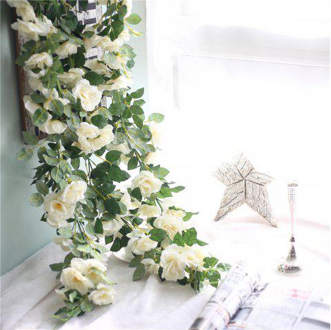 Vivid Rose Artificial Flowers Wedding Home Wall Hanging Decorations - WARM WHITE