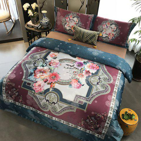 European and American 80S 3D Painting Bedding 4PCS - DARK SLATE BLUE DOUBLE