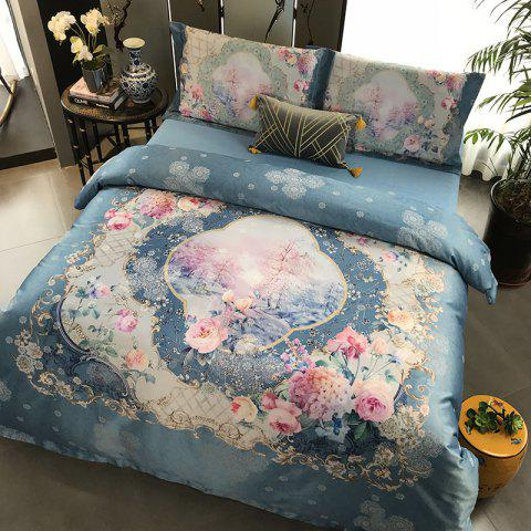 European and American 80S 3D Painting Bedding 4PCS - MARBLE BLUE KING SIZE