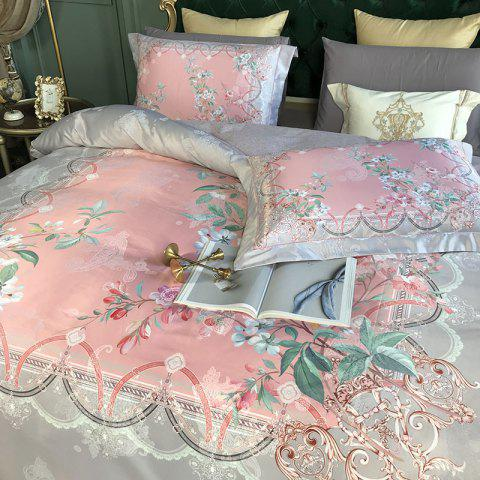 European and American 80S 3D Painting Bedding 4PCS - BLOSSOM PINK DOUBLE