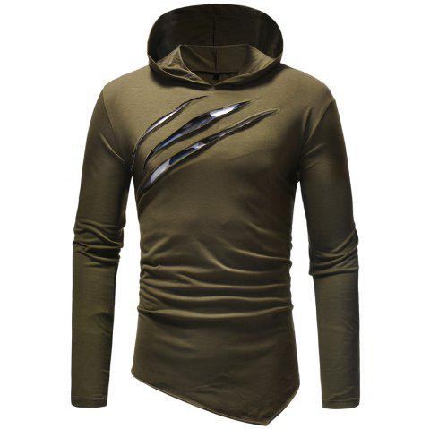 New fashion Men's Leisure  Self-Cultivation  Hat and Long Sleeve T-Shirt - ARMY GREEN 3XL