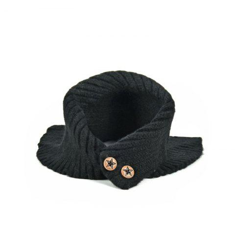 Baby Children Scarf Winter Cotton Thick Warm Knitted Ring Lovely Buttons Snood - BLACK 1PC