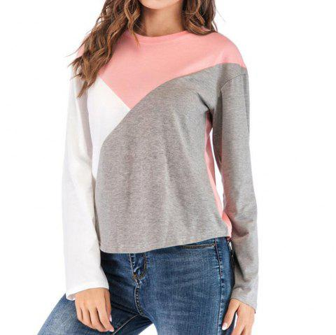 Tee shirt Femme, col rond, manches longues - Rose S