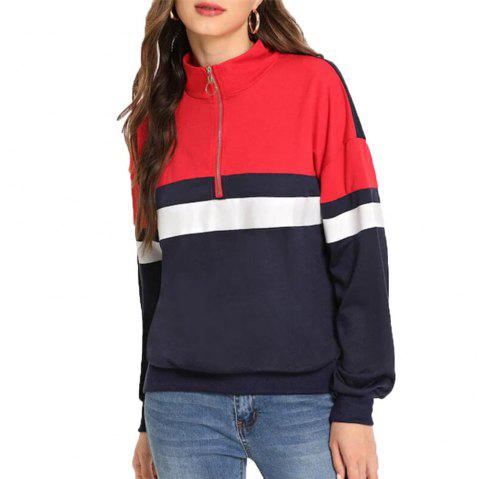 Women's Vertical Collar Zipper Long Sleeve Sweatshirt - CADETBLUE M