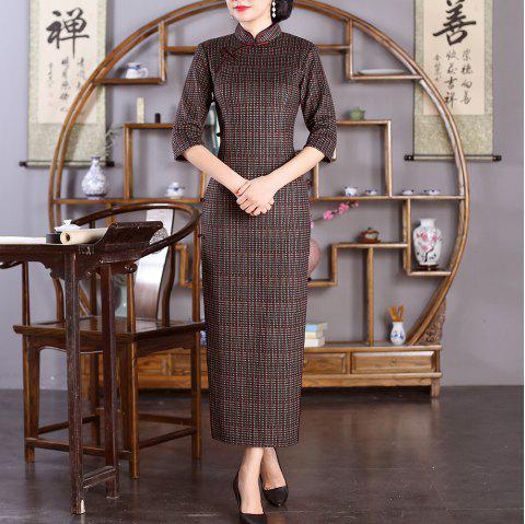 Chinese Classical Ladies Slim Fashion Sexy Embroidered Cheongsam - COFFEE 3XL