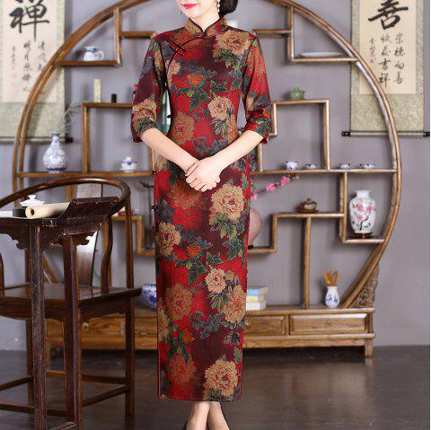 Chinese Classical Lady Slim Fashion Sexy Embroidered Peony Cheongsam - RED L