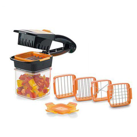 5 in 1 Dicer Fruit Vegetable Cutter Nicer Dicer Quick Stainless Steel Chopper - ORANGE