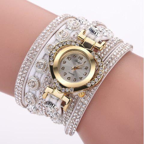 Duoya D259 Montre de diamants avec diamants à la mode - Blanc