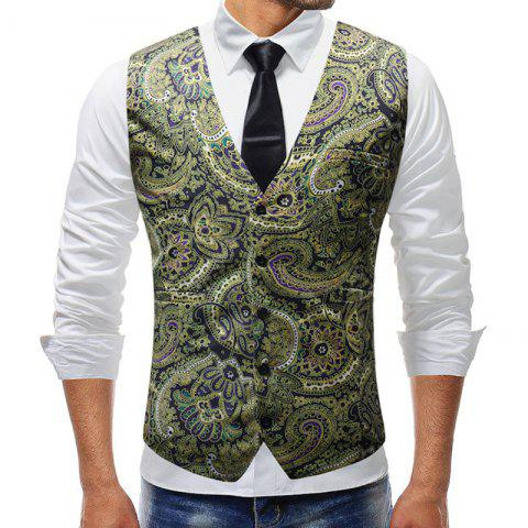 New Man Fashion Print 3D Floral V-Neck Party Casual Blazer Vest - GREEN APPLE 5XL