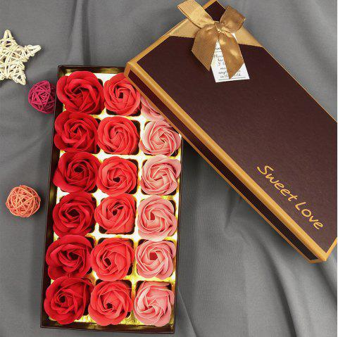 Roses Heart Valentine'S Day Christmas Gift Soap Artificial Flower with Box - multicolor