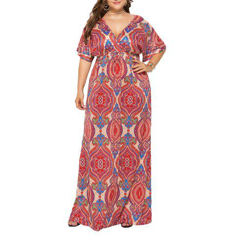 Deep V National Style Batwing Sleeve Plus Size Fat Print Maxi Dress - RED L
