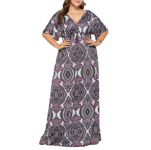 Deep V National Style Batwing Sleeve Plus Size Fat Print Maxi Dress - GRAY L