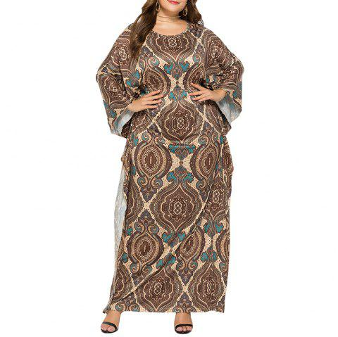 Loose Ethnic Style Classic Printed Batwing Sleeve Plus Size Maxi Dresses - WOOD XL