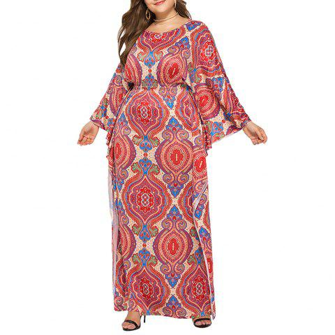 Loose Ethnic Style Classic Printed Batwing Sleeve Plus Size Maxi Dresses - RED 2XL