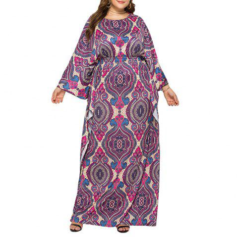 Loose Ethnic Style Classic Printed Batwing Sleeve Plus Size Maxi Dresses - PLUM L