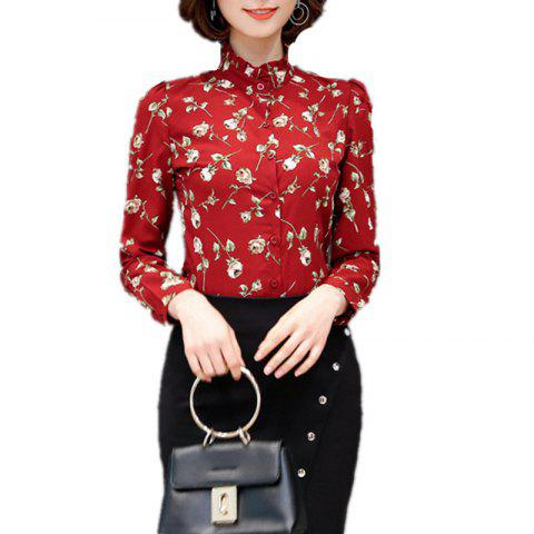 Women's Stand Collar Floral Print Slim Long Sleeve OL Chiffon Shirt - RED S