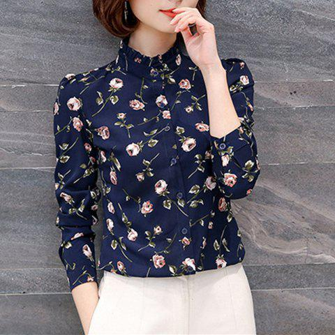 Women's Stand Collar Floral Print Slim Long Sleeve OL Chiffon Shirt - CADETBLUE 3XL