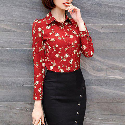 Shirt Collar Foral Print Long Sleeve Career OL Slim Plus Size Chiffon Shirt - RED S