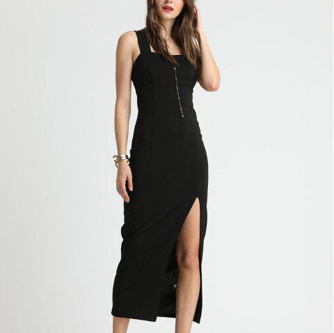 SBETRO Black Evening Slim Slit Sling Dress Party - BLACK M