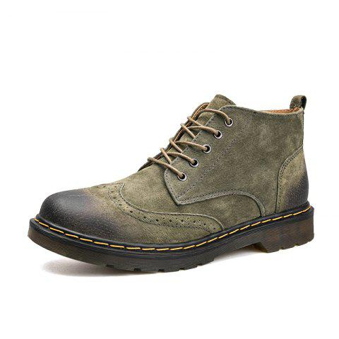 Warm Leather Casual Shoes - ARMY GREEN EU 43