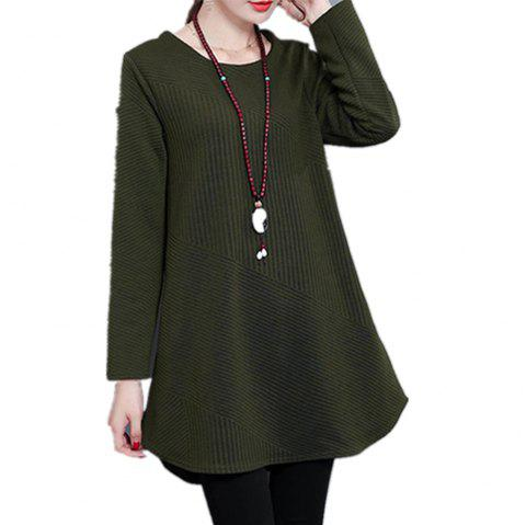 Women'S T Shirt Solid Color Curved Hem Plus Size Top - ARMY GREEN 2XL