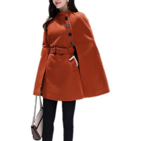 Women'S Cape Solid Color Buttoned Stand Collar Split Loose Cape - CARAMEL M