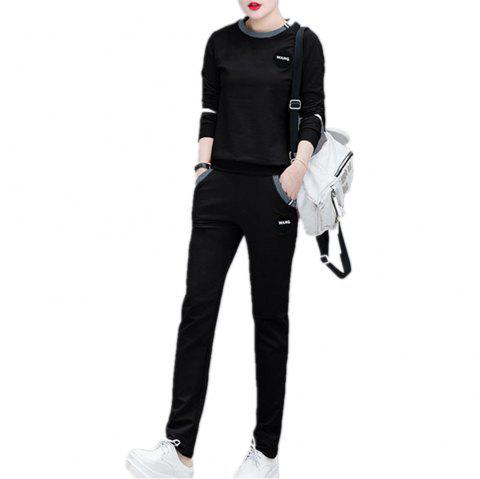 Women'S 2 Pcs Set Plus Size Long Sleeve O Neck Top Pocketed Pants Suit - BLACK 2XL