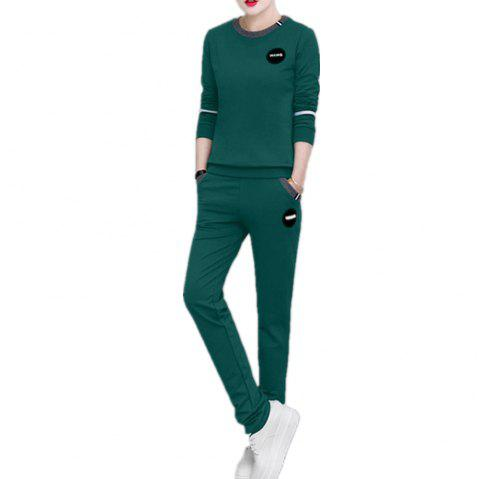 Women'S 2 Pcs Set Plus Size Long Sleeve O Neck Top Pocketed Pants Suit - DARK GREEN L
