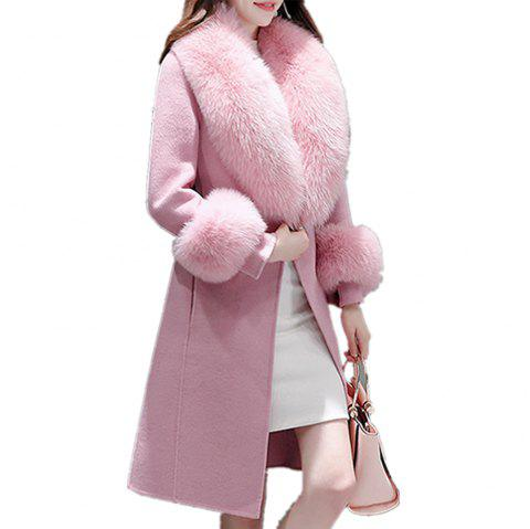 Women's Coat Synthetic Fur Collar Patchwork Long Sleeve Fashion Coat - PINK M